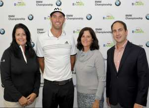 On Wednesday, September 16, 2015 from the 2015 BMW Championship at Conway Farms Golf Club in Lake Forest, IL, BMW announces its sponsorship of USA GOLF for Rio 2016 Games. (From left: Trudy Hardy, VP of Marketing, BMW of North America; Dustin Johnson, PGA TOUR player; Lisa Baird, Chief Marketing Officer, USOC; Andy Levinson, Executive Director, USA Golf)