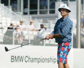 On Wednesday, September 16, 2015, legendary actor Bill Murray participated in the Gardner Heidrick Pro Am at Conway Farms Golf Club in Lake Forest, IL to kick off the 2015 BMW Championship. Murray and his five brothers: Andy, Brian, Ed, Joel and John, who also played in the Pro Am, will be inducted into The Caddie Hall of Fame later in the evening.