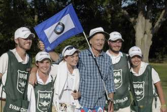 On Wednesday, September 16, 2015, legendary actor Bill Murray posed with Evans Scholars from Northwestern University after participating in the Gardner Heidrick Pro Am at Conway Farms Golf Club in Lake Forest, IL to kick off the 2015 BMW Championship. The Pro Am is the single largest fundraising event for the Evans Scholars Foundation, which grants full university tuition and housing to hardworking young caddies.