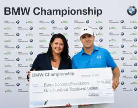 On Thursday, September 17, 2015 at the 2015 BMW Championship Trudy Hardy, Vice President of Marketing, BMW of North America presented PGA TOUR Player Jordan Spieth with a check from BMW representing another BMW Hole-In-One Scholarship, a full, four year Evans Scholarship worth $100,000. Later this year, BMW and the Western Golf Association (WGA), sponsor of the Evans Scholars Foundation, will jointly select and award the 2015 BMW Hole-in-One Scholarship in Spieth's name to a student caddie who will attend college next fall. Spieth aced the 2nd hole, his 11th hole of the day, with a 7-iron, from 184 yards.