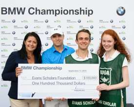 On Thursday, September 17, 2015 at the 2015 BMW Championship Trudy Hardy, Vice President of Marketing, BMW of North America presented PGA TOUR Player Jordan Spieth with a check from BMW representing another BMW Hole-In-One Scholarship, a full, four year Evans Scholarship worth $100,000. Later this year, BMW and the Western Golf Association (WGA), sponsor of the Evans Scholars Foundation, will jointly select and award the 2015 BMW Hole-in-One Scholarship in Spieth's name to a student caddie who will attend college next fall. Tyler Mount and Rose McBride, Evans Scholars at Northwestern University, accepted the donation on behalf of the Evans Scholars Foundation.  Spieth aced the 2nd hole, his 11th hole of the day, with a 7-iron, from 184 yards.