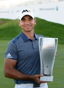 2015 BMW Championship winner Jason Day with the BMW Championship trophy at Conway Farms Golf Club in Lake Forest, IL on Sunday, September 20, 2015. Day finished with a final score of 22-under to capture the victory.