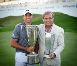 2015 BMW Championship winner Jason Day and Ludwig Willisch, President & CEO, BMW of North America, at Conway Farms Golf Club in Lake Forest, IL on Sunday, September 20, 2015. Day finished with a final score of 22-under to capture the victory.