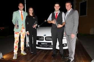 Die Sieger beim österreichischen Landesfinale des BMW Golf Cups International 2015: v.l. Michael Kobliha, Kathrin Klaus, Alexander Pessl, BMW Group Austria Geschäftsführer Kurt Egloff (09/2015)