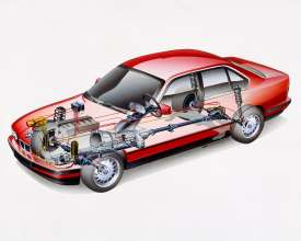 BMW 525iX Sedan E34, X-ray drawing all-whell drive (10/2015)