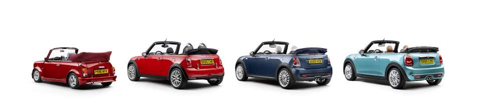 The new MINI Convertible and its predecessors: Mini Cabriolet (1996), MINI One Convertible (2005), MINI Cooper S Convertible (2009) and MINI Cooper S Convertible (2015). (10/2015)