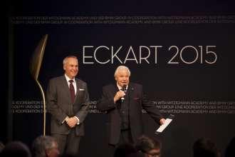 Dr. Friedrich Eichiner, Mitglied des Vorstands der BMW AG mit Eckart Witzigmann. Verleihung des ECKART 2015, BMW Museum (10/2015).