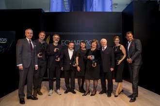 Die Preisträger des ECKART 2015 mit Dr. Friedrich Eichiner, Mitglied des Vorstands der BMW AG, und Eckart Witzigmann. Verleihung des ECKART 2015, BMW Museum (10/2015).