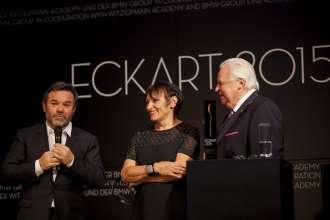 Michel Troisgros mit Gattin Marie-Pierre, ECKART 2015 für Große Kochkunst, und Eckart Witzigmann (v.l.n.r). Verleihung des ECKART 2015, BMW Museum (10/2015).