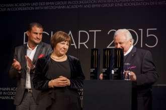 Klaus Erfort und Ulrike Thieltges, beide ECKART 2015 für Lebenskultur, mit Eckart Witzigmann (v.l.n.r). Verleihung des ECKART 2015, BMW Museum (10/2015).