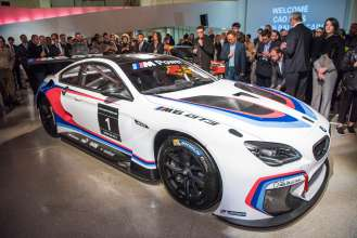 The BMW M6 GT3, the base model for the 18th and 19th BMW Art Car, at the announcement event for the new BMW Art Car artists Cao Fei and John Baldessari at the Guggenheim Museum, New York. (11/2015)