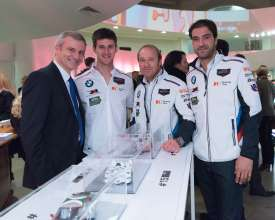 Jens Marquardt, BMW Motorsport Director, and racecar drivers at the announcement event of the new BMW Art Car artists at the Guggenheim Museum, New York. (11/2015)