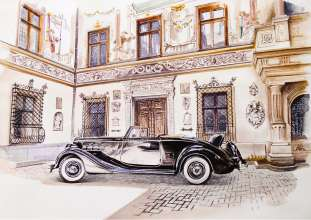 Sinaia Concours d'Elegance, Romania. Winner 2016 - Packard Super Eight, painting by Adrian Mitu (06/2017)