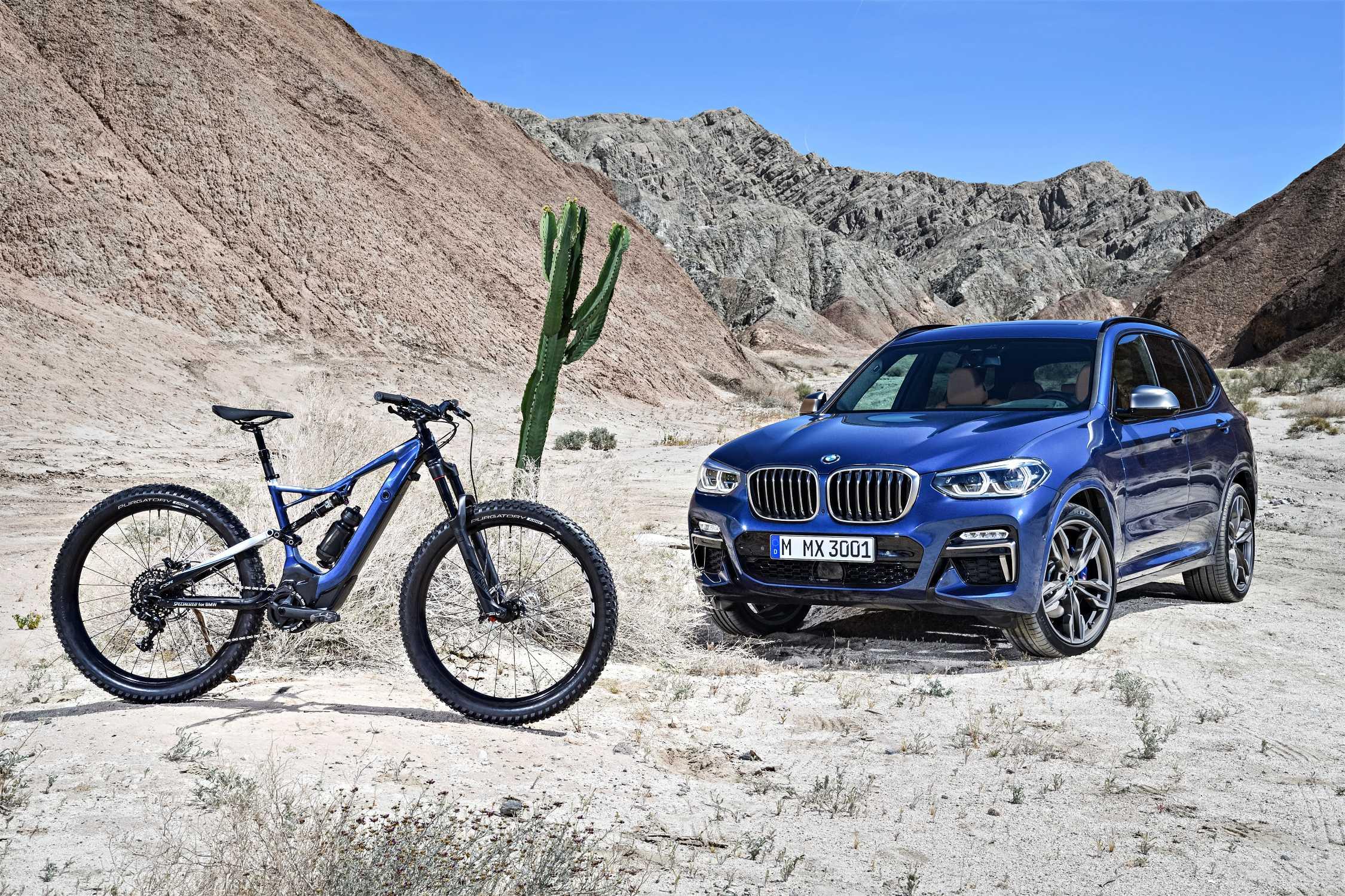 The new SPECIALIZED for BMW Turbo Levo FSR 6Fattie and the new BMW X3 xDrive M40i (06/2017).