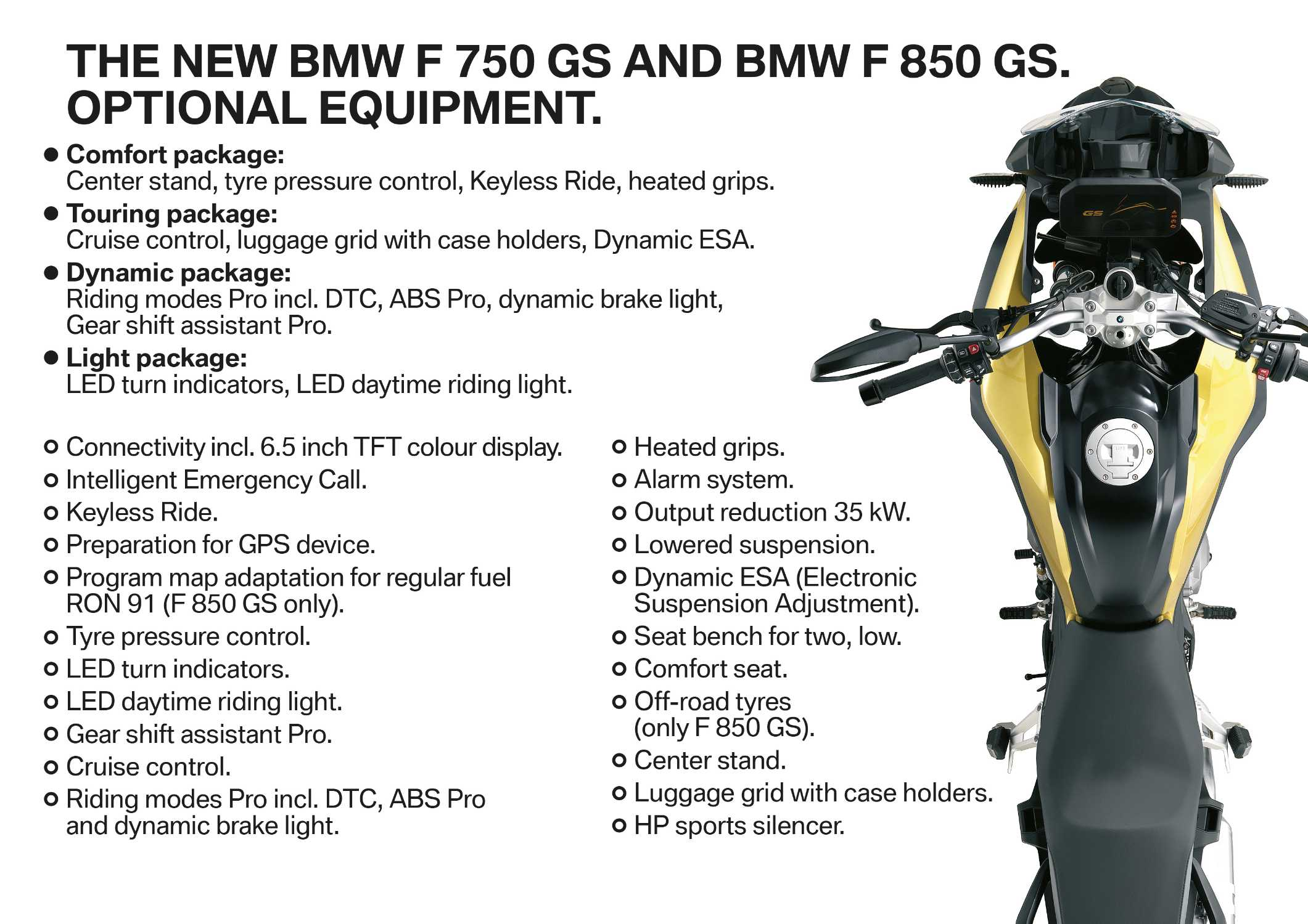 BMW F 750 GS and F 850 GS  Optional equipment  (02/2018)
