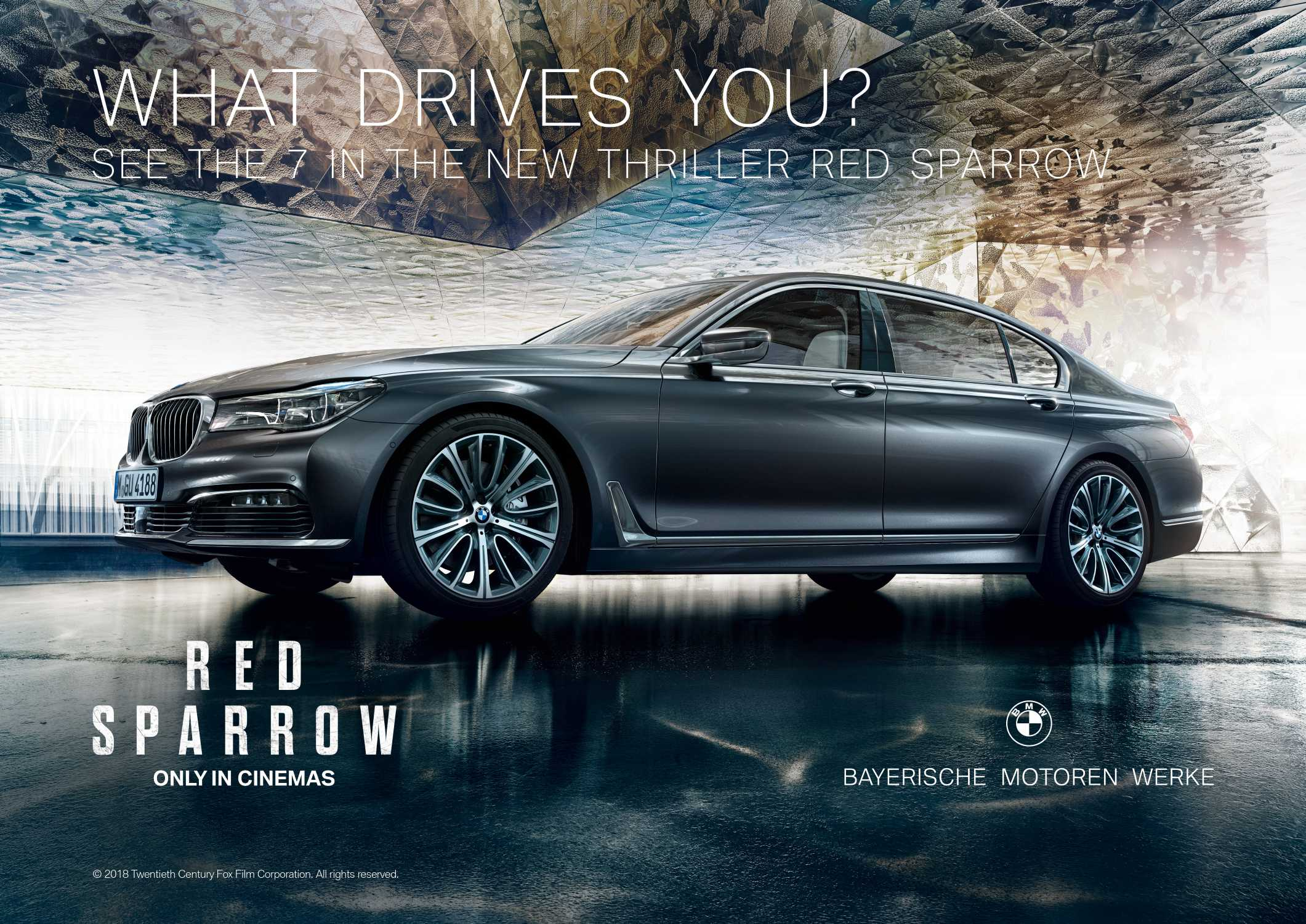 The BMW 7 Series in Red Sparrow starring Jennifer Lawrence as Dominika Egorova. (02/2018)