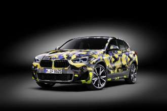 """The new BMW X2 with exclusive """"Digital Camo"""" accessory wrapping (04/2018)."""