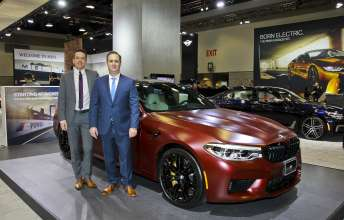 BMW Canada's Matthew Wilson, national product planning manager and Michael Ferreira, sales director, present the Canadian unveiling of the BMW M5 First Edition at the Vancouver International Auto Show.  (04/2018)