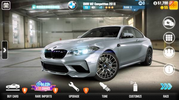 The new BMW M2 Competition in CSR Racing 2 from Zynga. In-game screenshot. (04/2018)