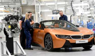 Engines contributing to the plug-in hybrid drive system for the latest electrified model - the new BMW i8 Roadster - are hand-built at the Hams Hall engine manufacturing plant.
