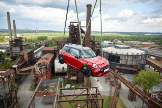 MINI JCW on top of the Bolt Tower in Ostrava (07/2018)
