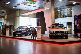 "On display until end of September at BMW Welt: Models from the latest ""Mission: Impossible – Fallout"" movie plus the BMW M5 E28. (08/2018)"