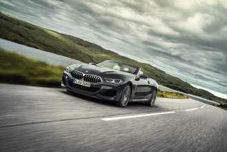 "The new BMW 8 Series Convertible in colour Dravit Grey metallic and 20 "" M wheels Multi-spoke 729 M Bicolour (11/2018)."