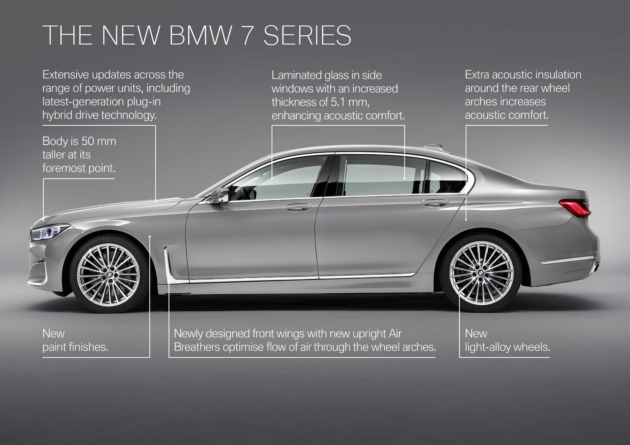 """The new BMW 7 Series in painting Bernina Grey Amber Effect metallic with light-alloy wheel Styling 777 and leather """"Nappa"""" with extended quilting in Cognac / Black (01/2019)."""
