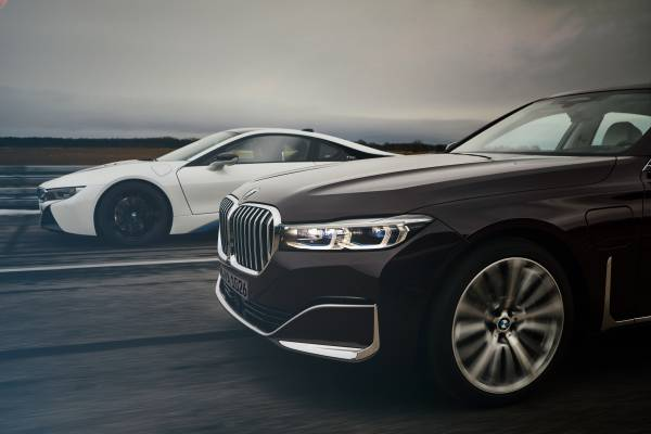 The new BMW 745Le and the BMW i8 Coupé (02/2019).