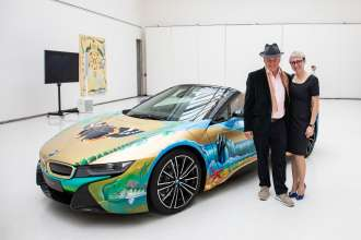 Jana Dvořáková (BMW i Manager in the Czech Republic) and Milan Kunc (artist) in front of BMW i8 Roadster 4 elements by Milan Kunc. (02/2019)