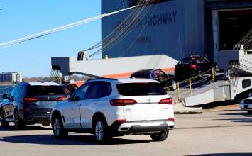 U.S.-built BMW X model Sports Activity Vehicles and Sports Activity Coupes are loaded onto a ship at the Port of Charleston in South Carolina.  According to the U.S. Department of Commerce, BMW was once again the largest vehicle exporter in the U.S. by value in 2018. (03/2019)