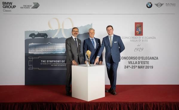 Press conference for the Concorso d'Eleganza Villa d'Este 2019. (05/2019) From left to right: Sergio Solero President BMW Group Italia, Ulrich Knieps, Head of BMW Group Classic, Danilo Zucchetti, Managing Director of Villa d'Este Hotels.