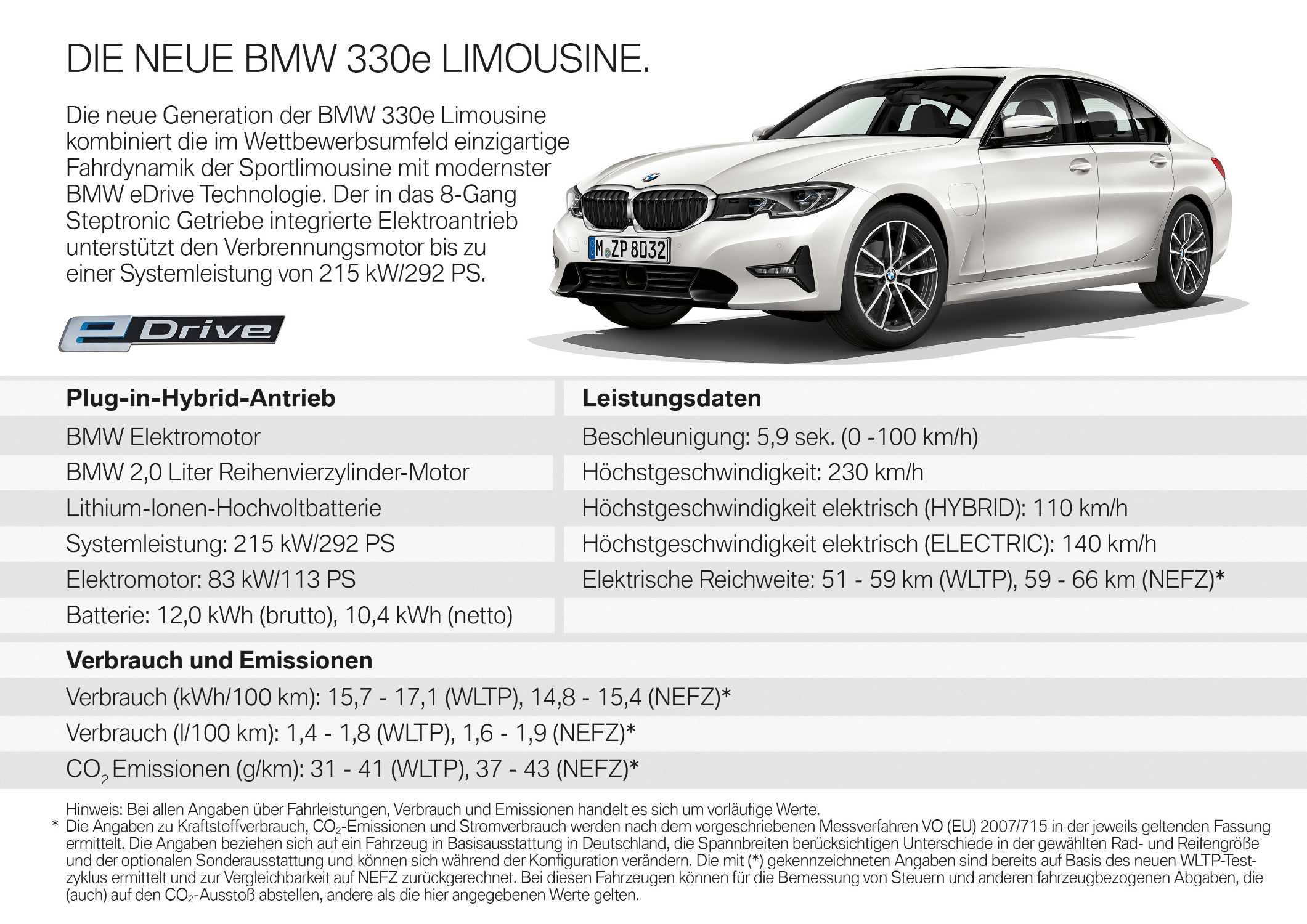 The all-new BMW 330e Sedan (08/2019).