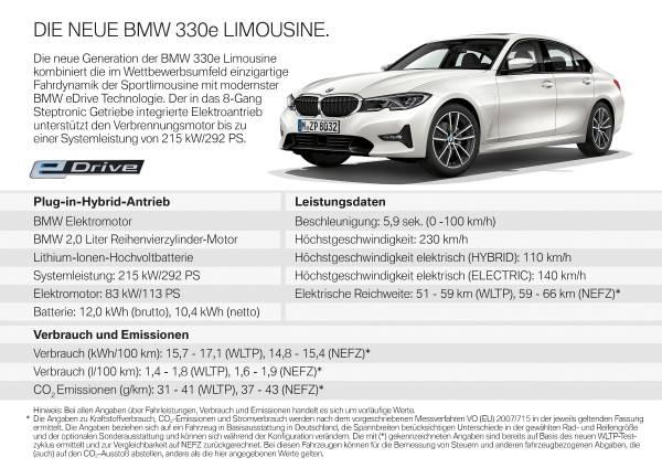Die neue BMW 330e Limousine (08/2019).