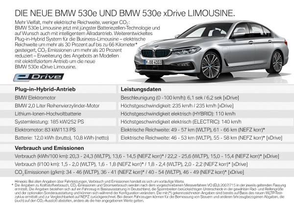 Die neue BMW 530e Limousine (08/2019).