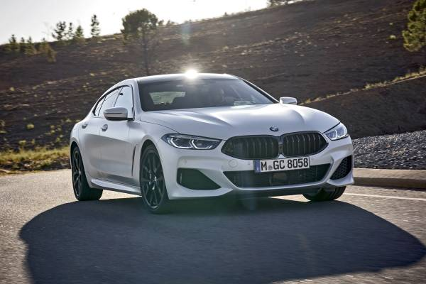 "The new BMW 840i Gran Coupe in colour Frozen Brilliant White and 20"" M light alloy wheels Y-spoke style 728 M Jetblack – Faro, Portugal (09/2019)."