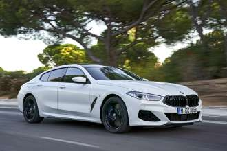 "The new BMW 840i Gran Coupe in colour Frozen Brilliant White and 20"" M light alloy wheels Y-spoke style 728 M Jetblack – Faro, Portugal (09/2019)."
