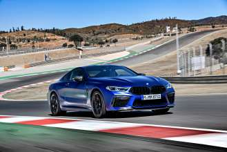 "The new BMW M8 Competition Coupe in colour Frozen Marina Bay Blue and 20"" M light alloy wheels Star-spoke 813 M Bicolour / MB – Faro, Portugal (10/2019)."