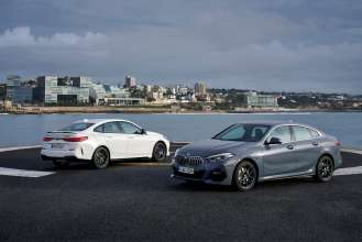 The first-ever BMW 220d Model M Sport Gran Coupe (Storm bay metallic) and the first-ever BMW M235i xDrive Gran Coupe (Alpine white) (02/2020).