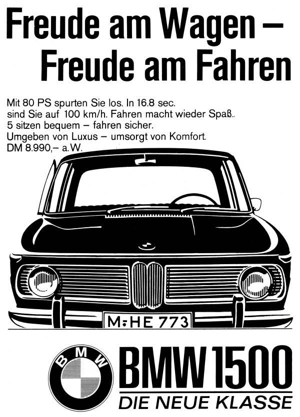 """Advertisement block """"Freude am Wagen - Freude am Fahren. BMW 1500""""  (03/2020)"""