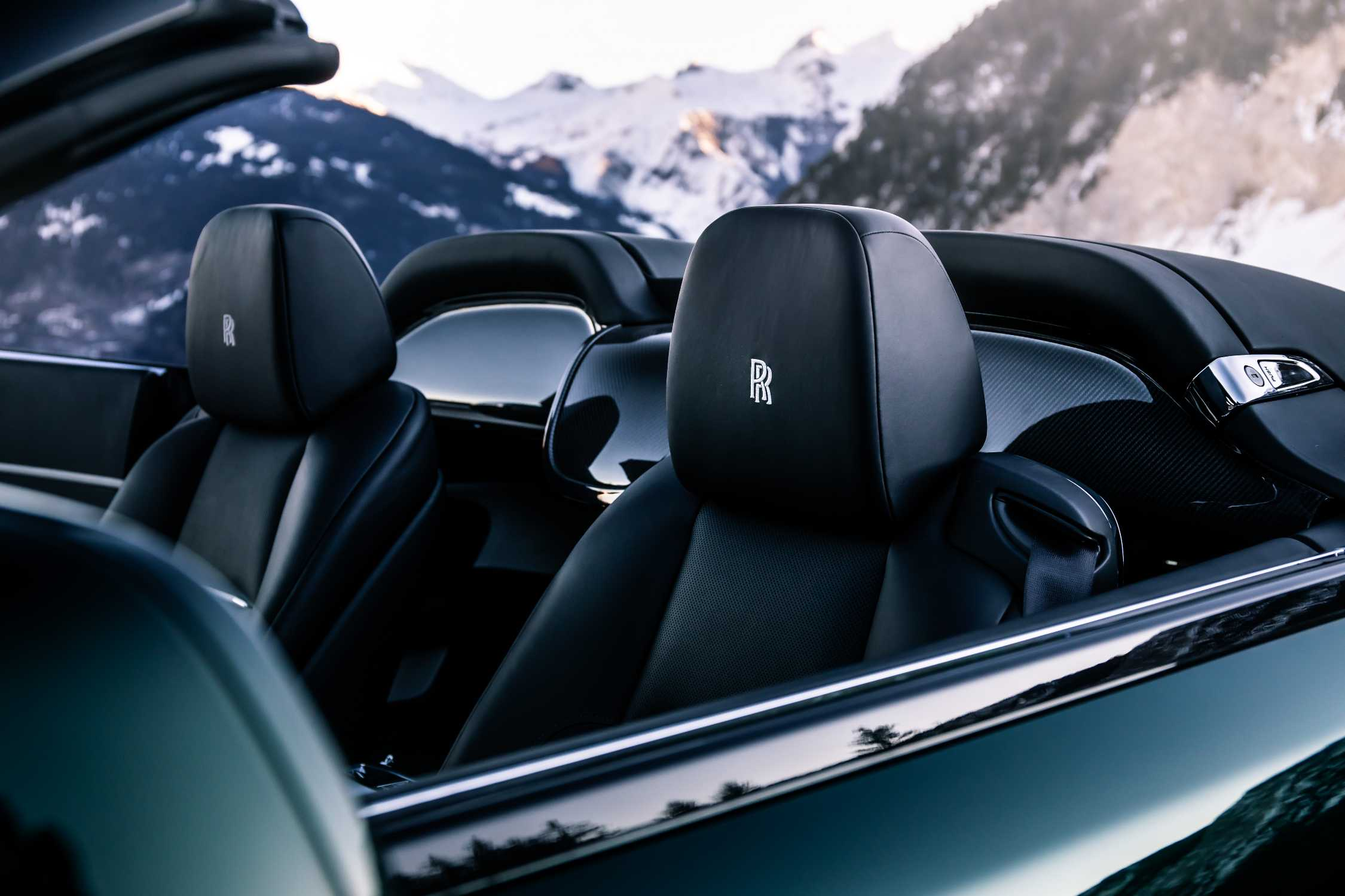 ROLLS-ROYCE MOTOR CARS' DAWN WITH INTERLINKED RR MONOGRAM EMBROIDERED INTO THE HEADRESTS