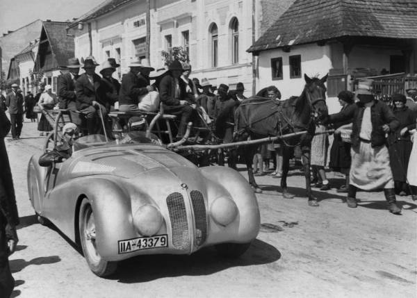 Briem in the BMW 328 Mille Miglia Roadster on the way to the Rumanian Grand Prix,