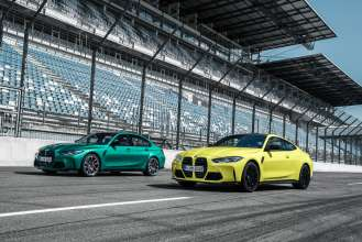 The new BMW M3 Competition Sedan, the new BMW M4 Competition Coupé and the new BMW 1000 RR (09/2020).