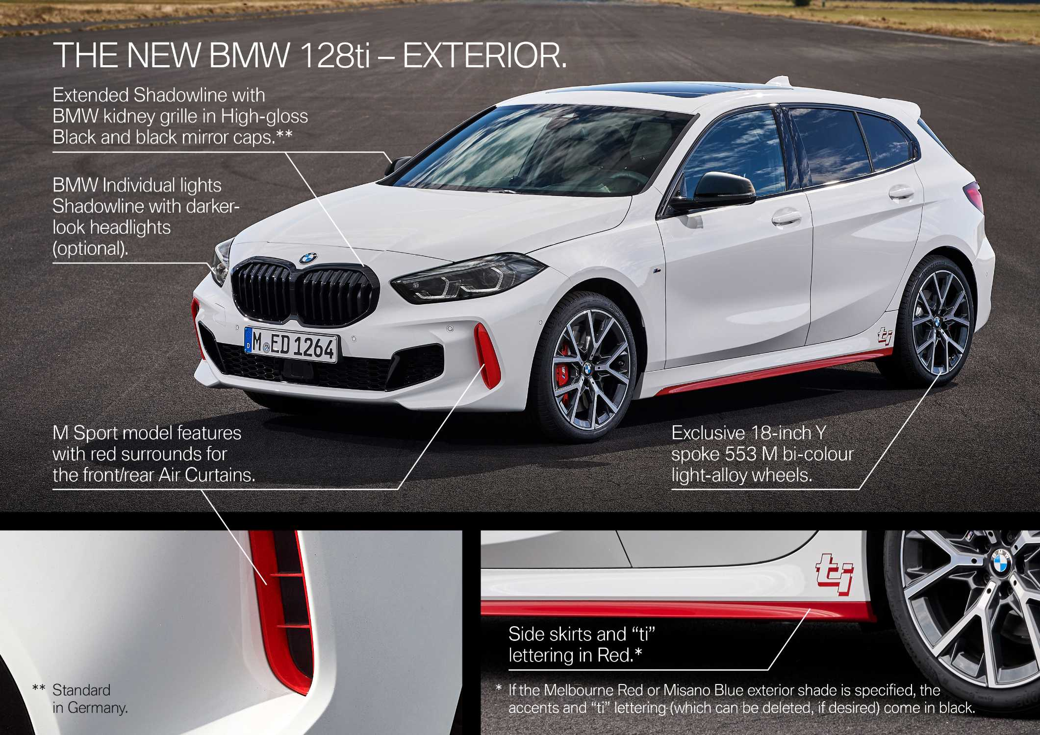 "The all-new BMW 128ti, Alpine white, Y Rim 18"" Styling 553 M (10/2020)."