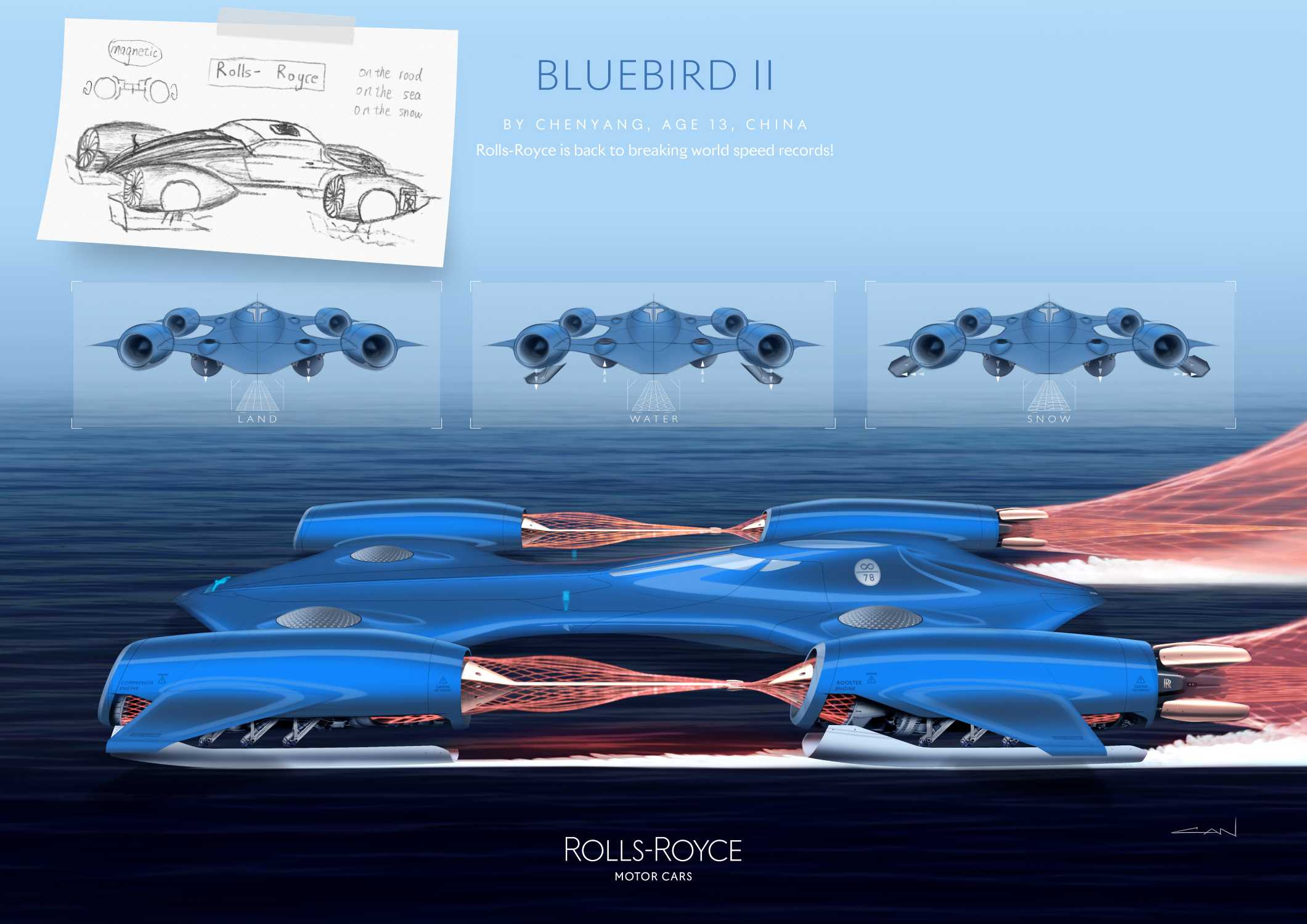 ROLLS-ROYCE BLUEBIRD II BY CHENYANG, AGE 13, CHINA. TECHNOLOGY CATEGORY WINNER IN THE ROLLS-ROYCE YOUNG DESIGNER COMPETITION.