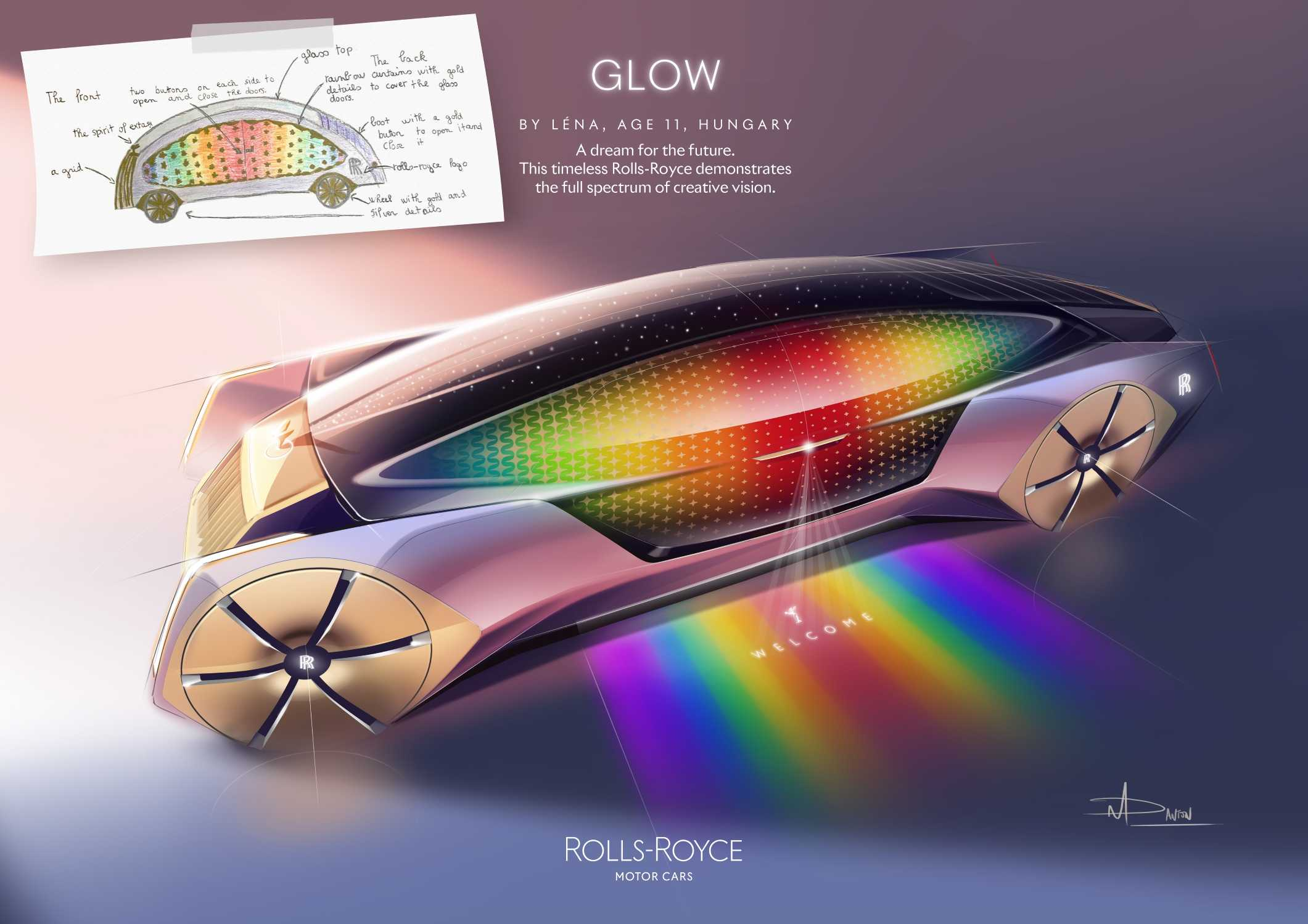 ROLLS-ROYCE GLOW BY LÉNA, AGE 11, HUNGARY. FUN CATEGORY WINNER IN THE ROLLS-ROYCE YOUNG DESIGNER COMPETITION.