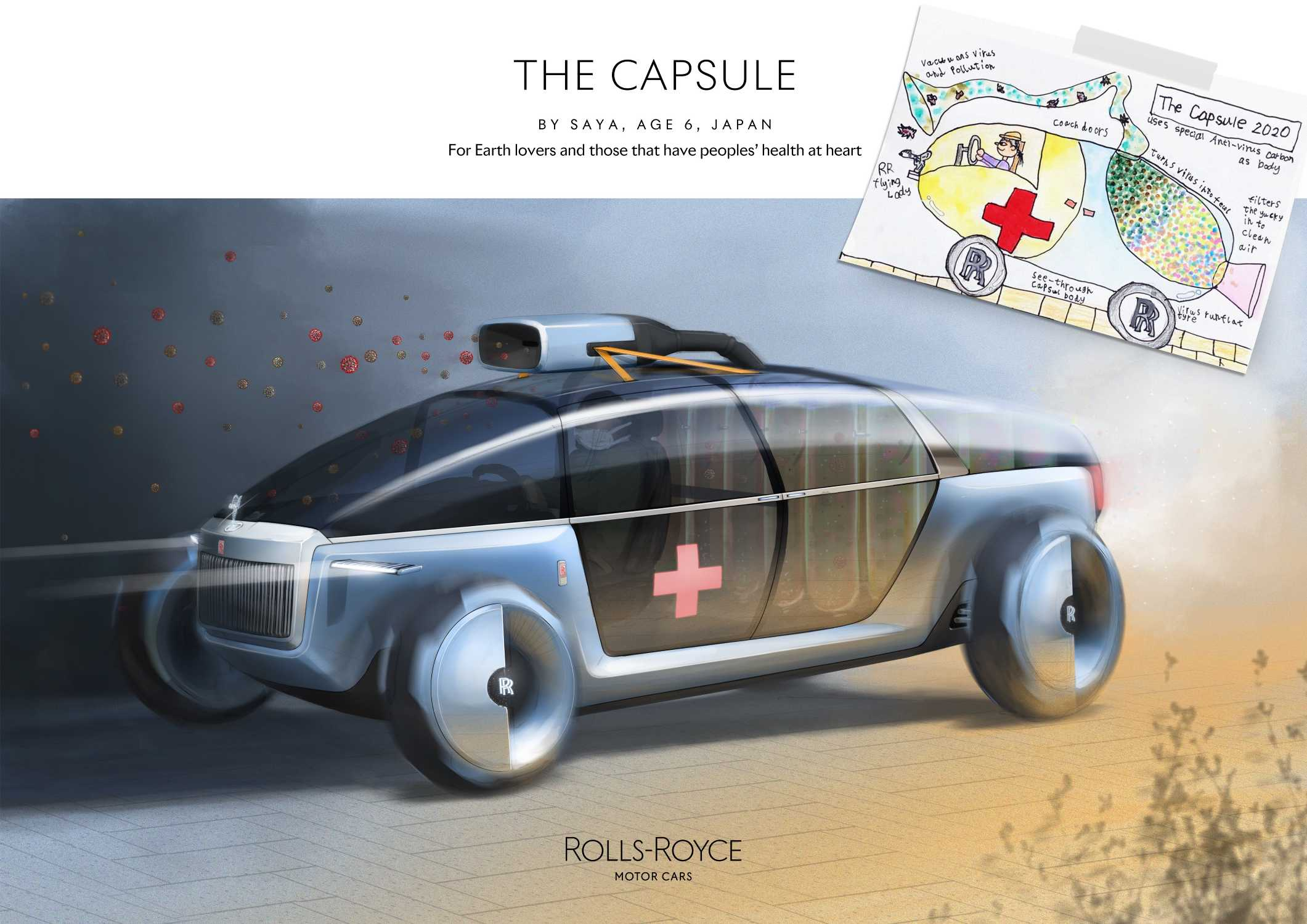 ROLLS-ROYCE CAPSULE, BY SAYA AGE 6, JAPAN. ENVIRONMENT CATEGORY WINNER IN THE ROLLS-ROYCE YOUNG DESIGNER COMPETITION.