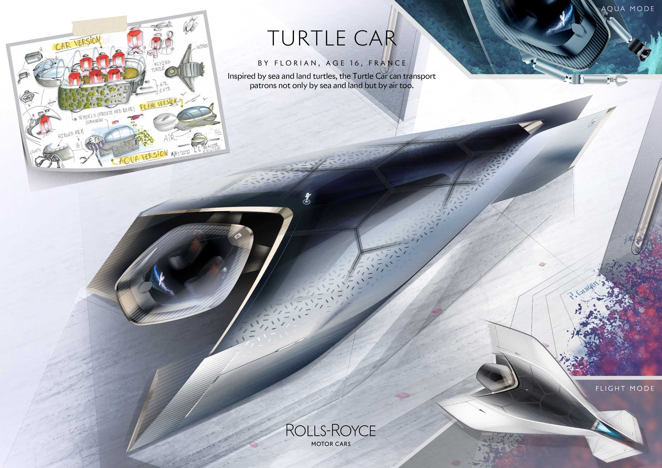 ROLLS-ROYCE TURTLE CAR, BY FLORIAN AGE 16, FRANCE. FANTASY CATEGORY WINNER IN THE ROLLS-ROYCE YOUNG DESIGNER COMPETITION.