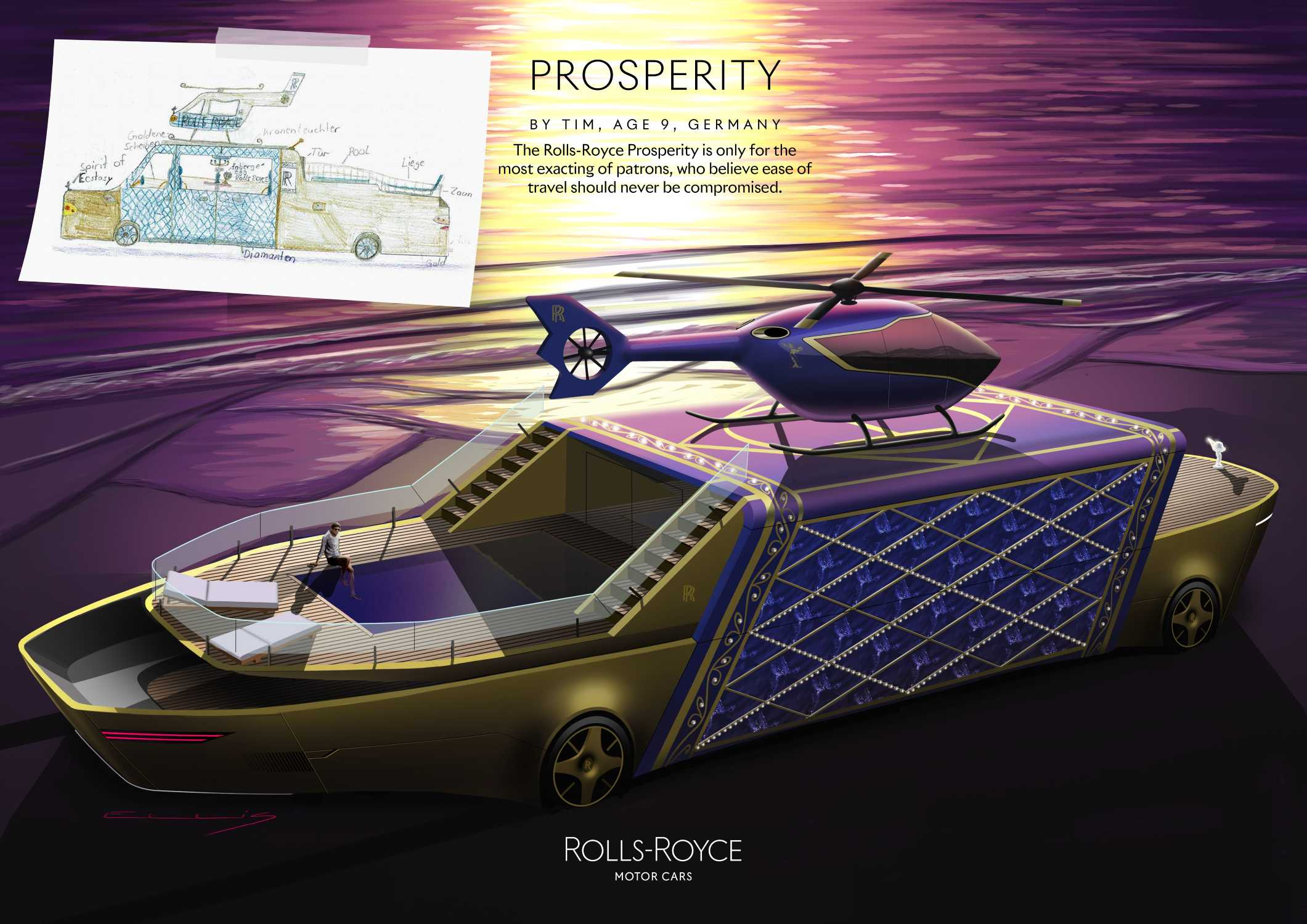 PROSPERITY BY TIM, AGE 9, GERMANY. HIGHLY COMMENDED IN THE ROLLS-ROYCE YOUNG DESIGNER COMPETITION.