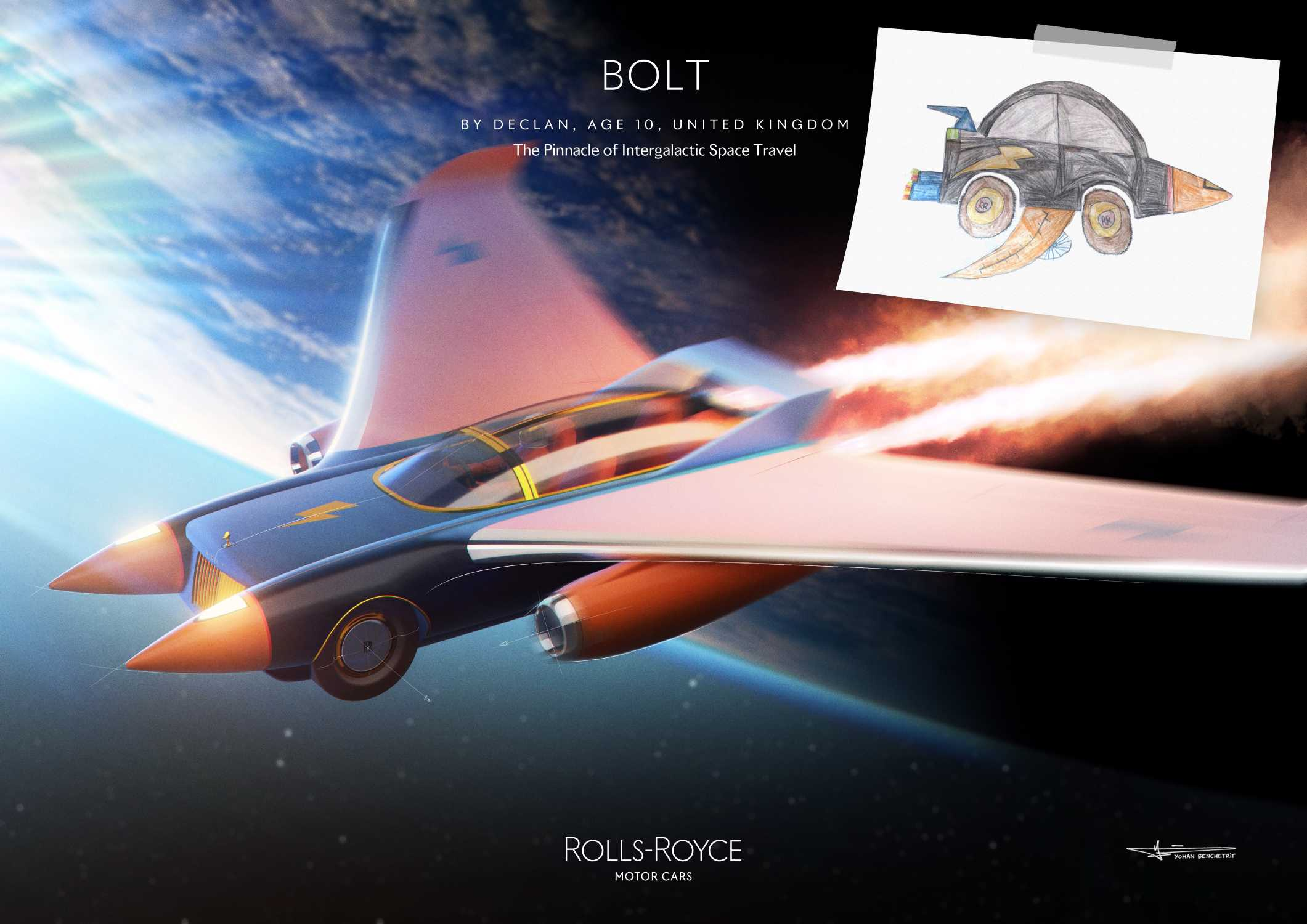 ROLLS-ROYCE BOLT BY DECLAN, AGE 10, UNITED KINGDOM. HIGHLY COMMENDED IN THE ROLLS-ROYCE YOUNG DESIGNER COMPETITION.